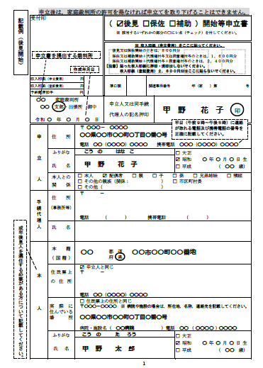 認知症の親のマンション売却、成年後見制度の手続き、申請書の記入例1