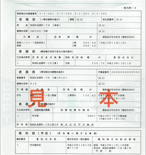 登記簿謄本(見本)
