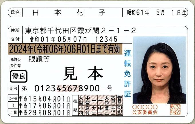 運転免許証(見本)