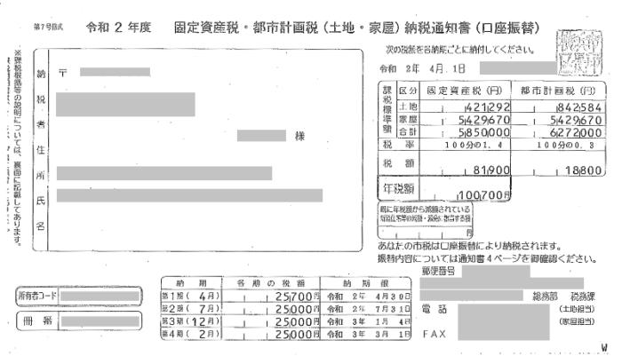 固定資産税・都市計画税納税通知書