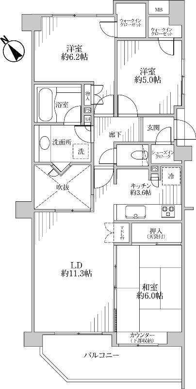 ライトコートのあるマンション間取り図